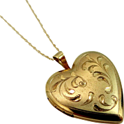 14k Solid Gold Diamond Cut Heart Locket and Chain