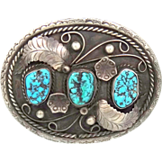 Large & Heavy Sterling Silver Kingman Turquoise Navajo Belt Buckle