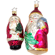 2 Glass Western Germany Santa Claus Ornaments