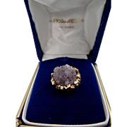 HUGE 14k Nugget Gold and Rough Amethyst Tie Tack in Original Box