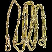 Art Deco Yellow Enamel Gold Filled Lorgnette Watch Chain