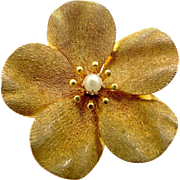 Victorian 14k Gold and Seed Pearl Flower Brooch