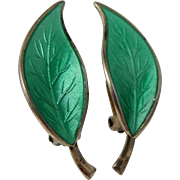 David Andersen Sterling Silver and Green Enamel Leaf Clip on Earrings