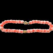 """14k Gold Natural Coral 7 1/4"""" Long Bracelet"""
