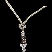 14k Gold Art Nouveau Seed Pearls, Diamond & Sapphire Lavaliere