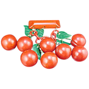 HUGE Carved Red Bakelite Cherries Pin 8 Cherries & 5 Celluloid Leaves