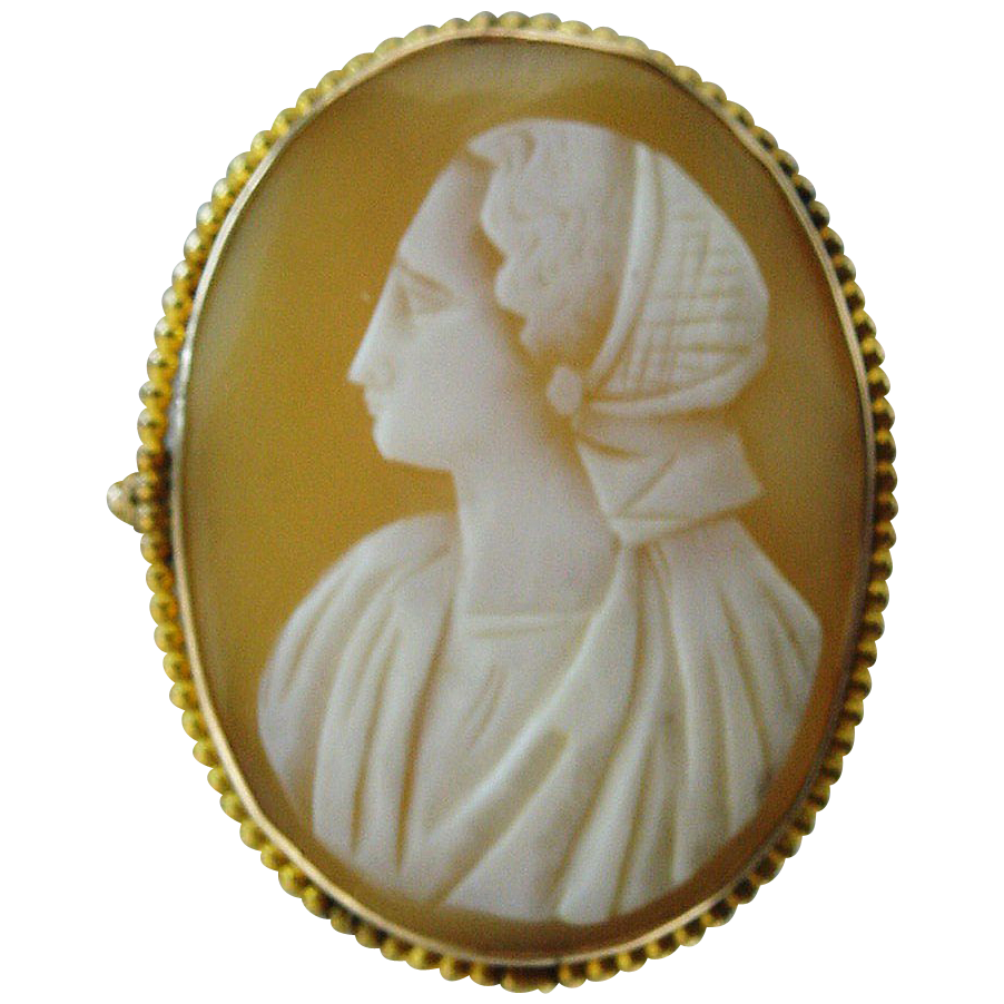 10k Gold 1920's Cameo of Peasant Woman Pin / Pendant