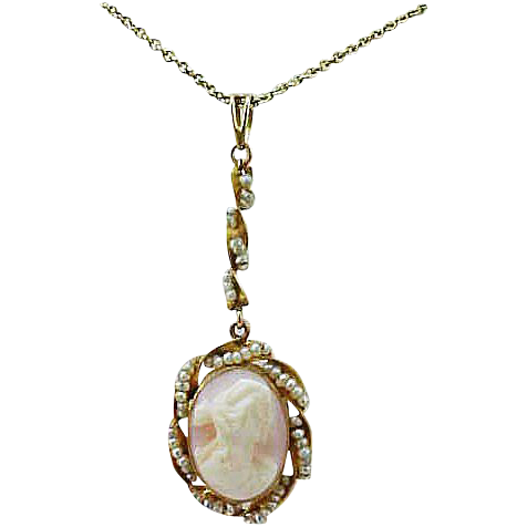 10K Gold Victorian Angelskin Coral & Seed Pearls Lavaliere & Chain