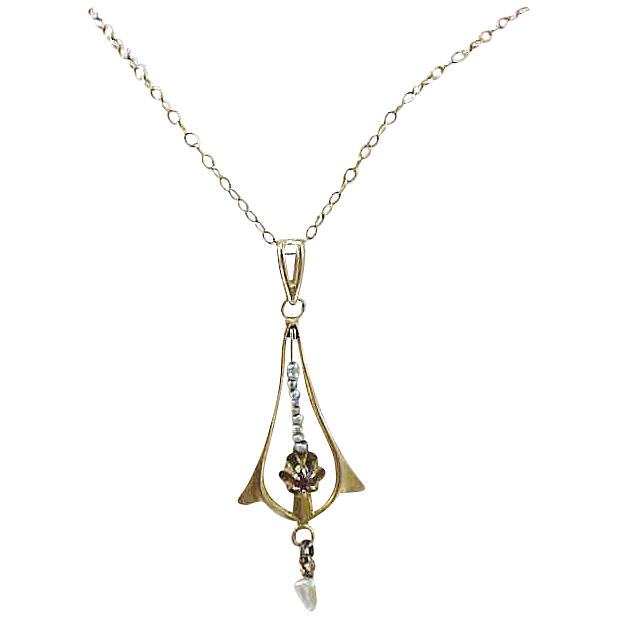 10k Gold Seed Pearls Edwardian Lavalier & Chain