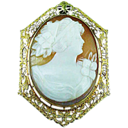 10k YELLOW Gold Filigree Cameo Pin / Pendant Circa 1910