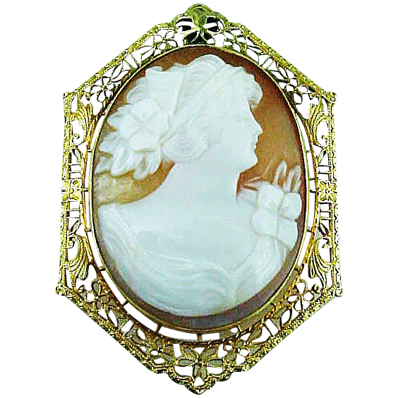 10k YELLOW Gold Filigree Cameo Pin / Pendant Circa 1910