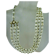 Miriam Haskell Triple Strand Faux Baroque Pearl Necklace 3 Strand
