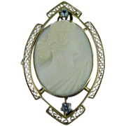 10k Rose Gold Edwardian Cameo Pin Filigree & Blue Topaz