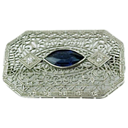 10k White Gold Filigree & Diamonds Bar Pin