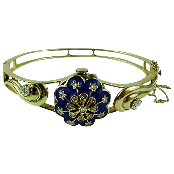 Victorian 14k Gold Diamonds & Enamel Bracelet Watch