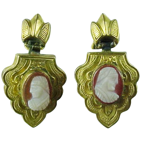 Late Victorian Gold Fld Carnelian Cameo Earrings