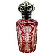 Victorian Sterling Silver Cranberry Glass Perfume Bottle - Red Tag Sale Item