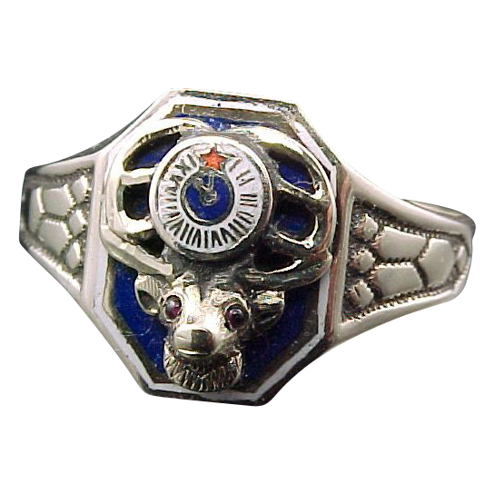 10K Gold Enamel Elks Ring w/Ruby Eyes