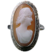 10k White Gold & Shell Cameo Art Deco Ring