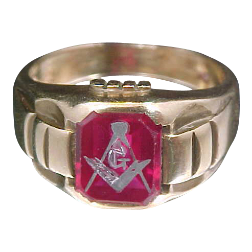 10k Gold & Ruby Masonic Ring Circa 1940's