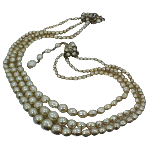 Miriam Haskell Baroque Pearls Three Strand Signed Necklace