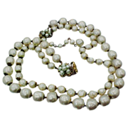 Demario Double Strand Faux Pearls Signed Necklace