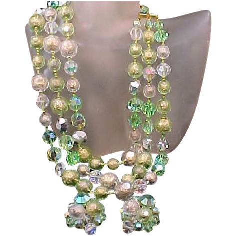 EUGENE Triple Strand Green Glass Necklace & Matching Earrings
