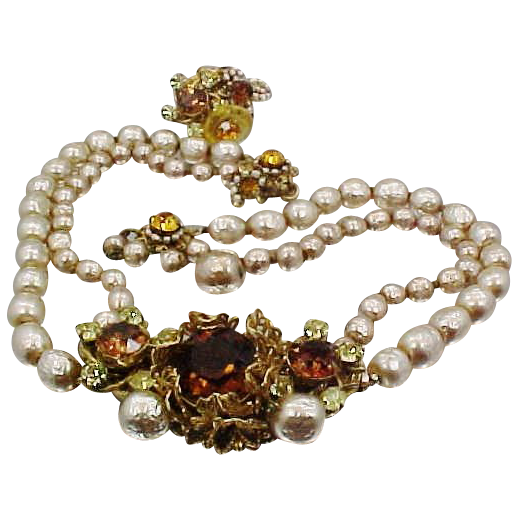 1950's Signed Miriam Haskell 2 Strand Baroque Pearl & Topaz Crystals Necklace