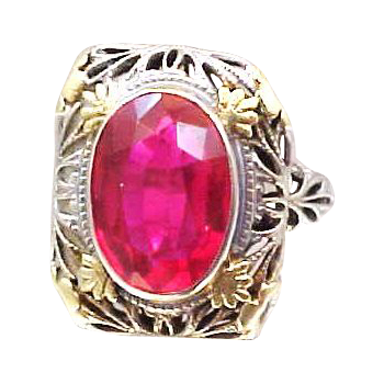 14k White Gold with Yellow Gold Flowers Filigree Ruby Ring Art Deco