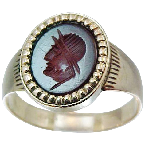 10k Gold Victorian Carnelian Cameo Ring Roman Soldier