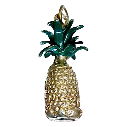 14k SOLID Gold Figural Pineapple Charm 7.7 Grams