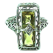 14k White Gold Filigree Topaz & Diamond Art Deco Ring