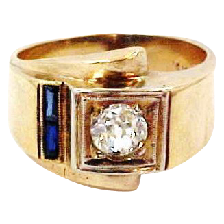 14k Gold Retro 1/2 Carat Mine Cut Diamond Ring with 2 Sapphires Circa 1940's