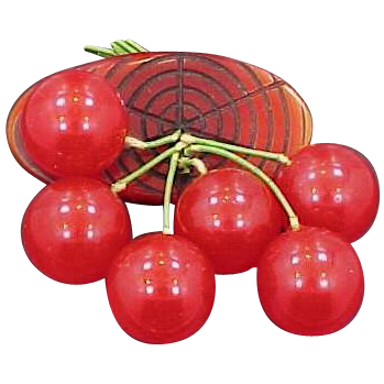 Nice Red Bakelite Cherries & Carved Wood Brooch 6 Cherries Nice Condition