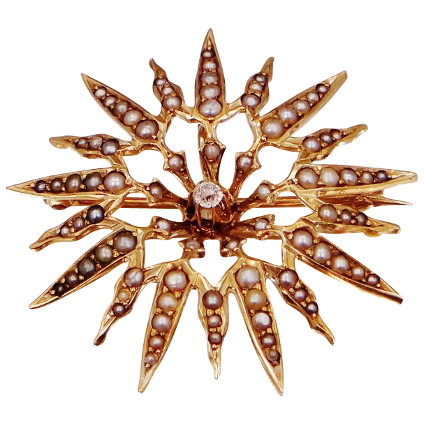10k Gold Seed Pearls & Diamond Victorian Starburst Pin / Pendant