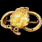 Victorian 10k Gold Etched Leaf Mourning Locket Brooch
