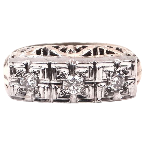 14k White & Yellow Gold Filigree Art Deco Diamond Ring