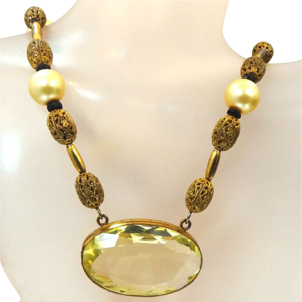 Czechoslovakia Lemon Yellow Glass & Filigree Gilt Brass 1920s Necklace