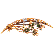 14k Gold Late Victorian Enamel & Seed Pearls Crescent & Floral Bouquet Brooch