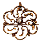 10k Gold & 0.20 Point Diamond Victorian Pin / Pendant