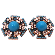1960's K.J.L. Blue & Clear Glass Earrings Kenneth J. Lane