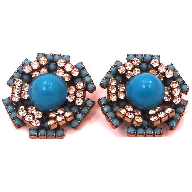 1960's K.J.L. Blue & Clear Glass Earrings Kenneth J. Lane