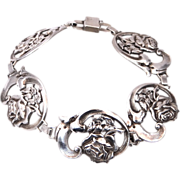 Pretty Sterling Silver Art Deco Bracelet With Roses on Each Link