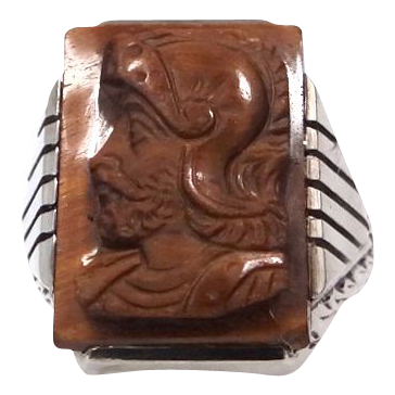 Man's Large 10k White Gold Art Deco Tiger Eye Cameo Ring