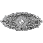 14k White Gold Rock Crystal & Diamond Art Deco Filigree Pin