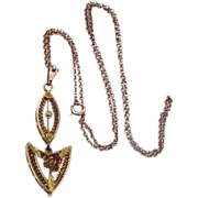 10K Gold Filigree Victorian Lavalier on 10k Gold Chain