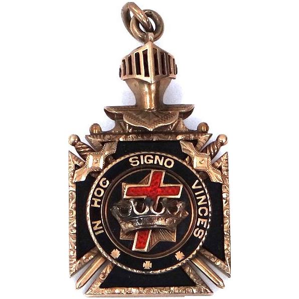 10k  Gold Enamel Knights Templar Masonic Watch Fob