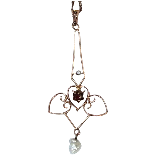 Victorian 10k Gold & Pearls Lavaliere on Original 10k Chain