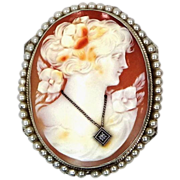 14k White Gold Art Deco Habille Cameo With Diamond Necklace