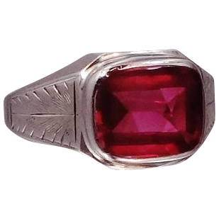 10k White Gold Art Deco Man's Ruby Ring